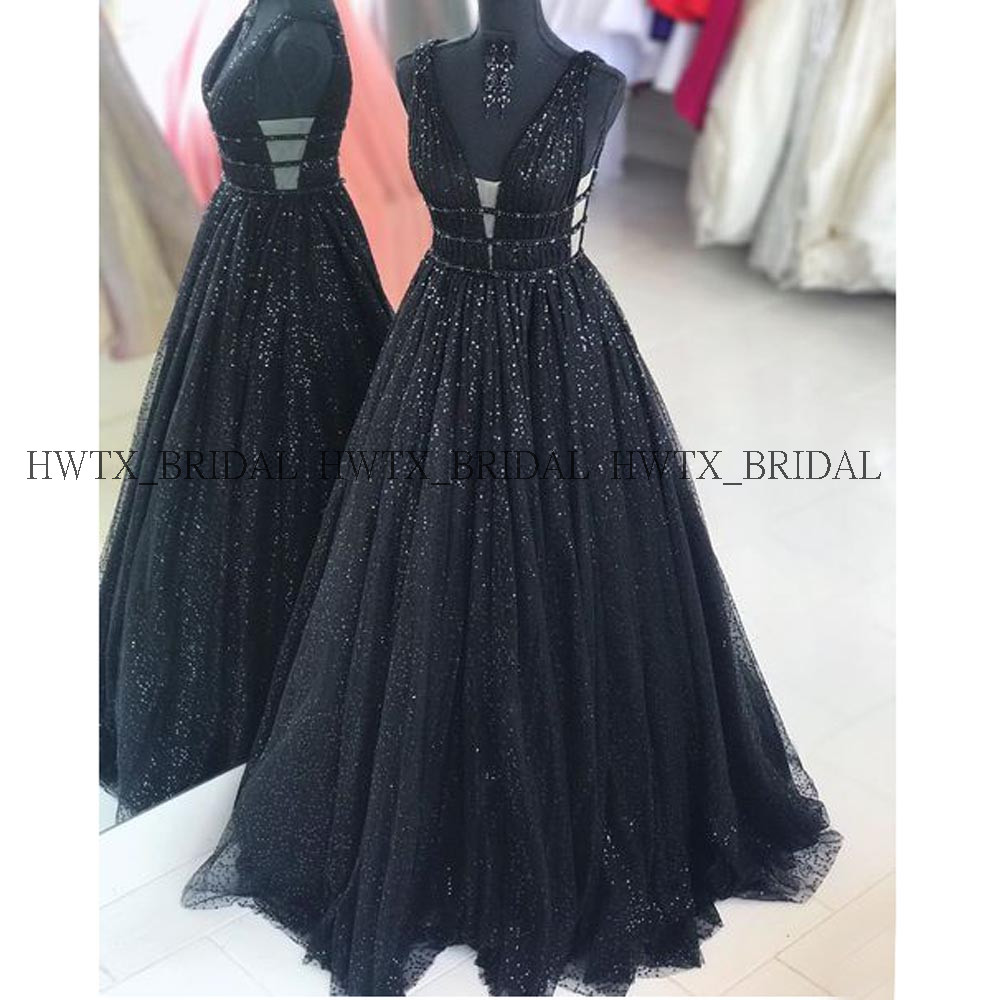 Bling Black Sequin   Evening     Dress   Robe de soiree 2019 Plus Size A Line Sleeveless Long Prom   Dresses   Women Formal Party Gown