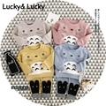 Bebê menino roupas dos desenhos animados Totoro impresso t-shirt + leggings de algodão do bebê roupas de bebê menino