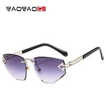 купить TAOTAOQI Luxury Cat Eye Sunglasses Women Designer Brand Fashion Rimless Arrow Sun Glasses Female UV400 Men Vintage Eyewear недорого