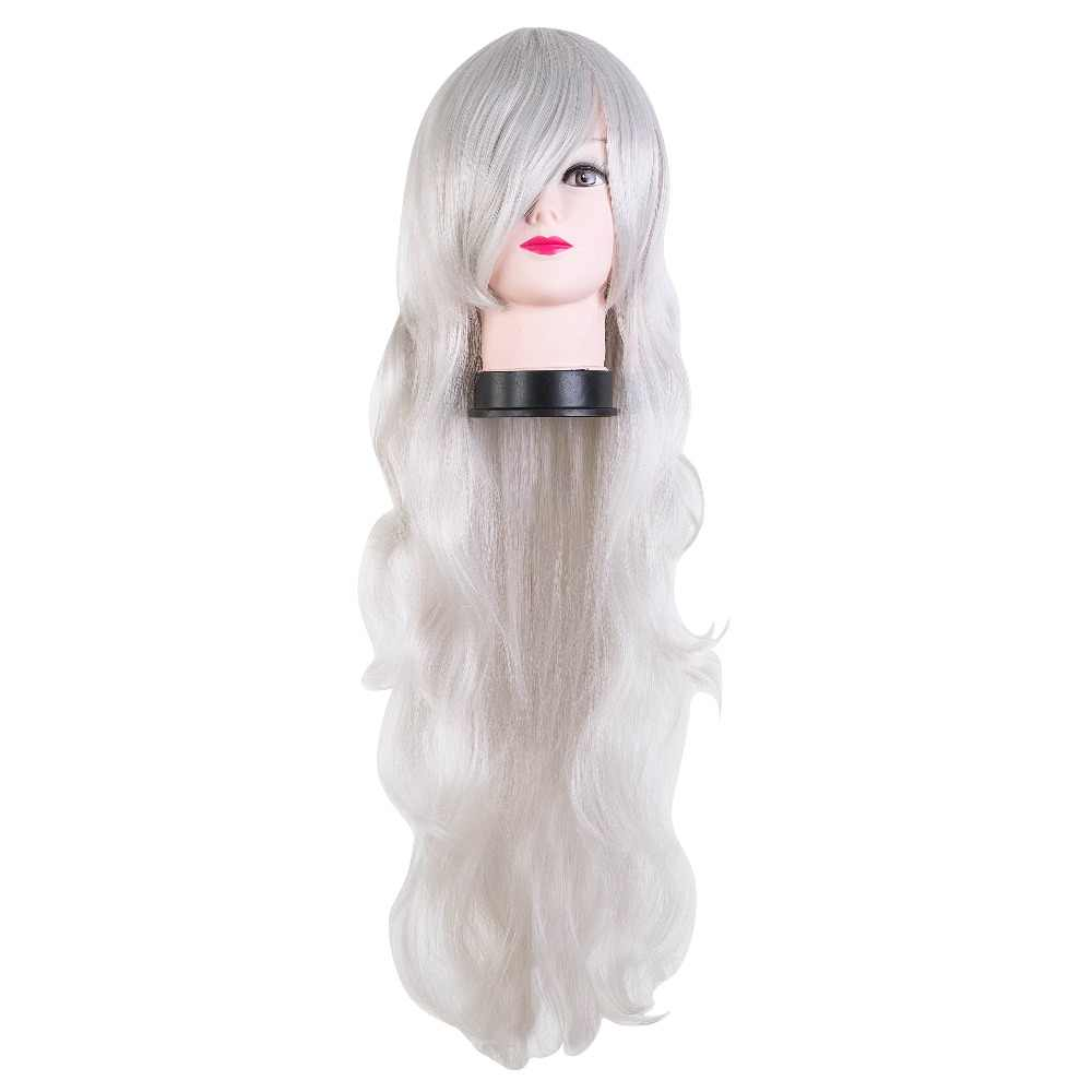 Silver Hair Fei-Show Synthetic Heat Resistant Fiber Long Curly Wig Women Peruca Perruque Cos-play Hairpiece Salon Party Hairsets