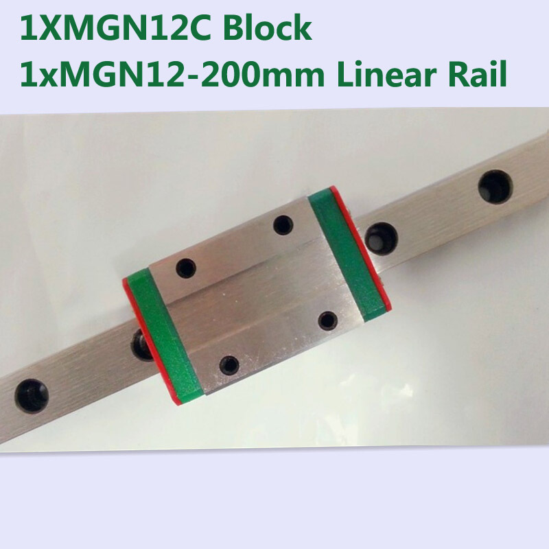 MR12 12mm linear rail guide MGN12 length 200mm with mini MGN12C linear block carriage miniature linear motion guide way for cnc original taiwan hiwin miniature linear motion rail 2pcs mgn12 l700mm 2pcs mgn12c block