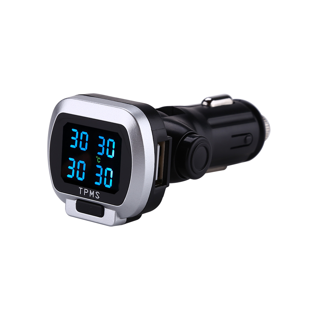 12V Wireless Car LCD TPMS Tire Pressure Monitoring System With USB Port 4 Sensor Cigarette Lighter in Tire Pressure Alarm from Automobiles Motorcycles