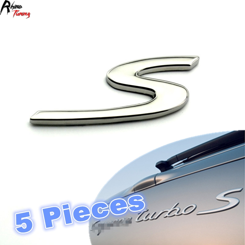 Rhino Tuning 5PCS GTS S Logo Emblem Chrome ABS Car Rear Tail Sticker S Sport Auto Styling Badge for Porsche auto chrome for 2008 2013 genesis front rear wing emblem badge sticker