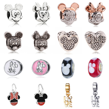 CUTEECO Silver Plated Cartoon Enamel Mickey Minnie Charm Beads Fit Pandora Necklace & Bracelet For Women Jewelry Accessories