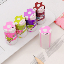 1pc/lot Kawaii Eraser Mushroom Dot Colorful Student Rubber Cylinder Cute Stationery School Office Supplies Gift