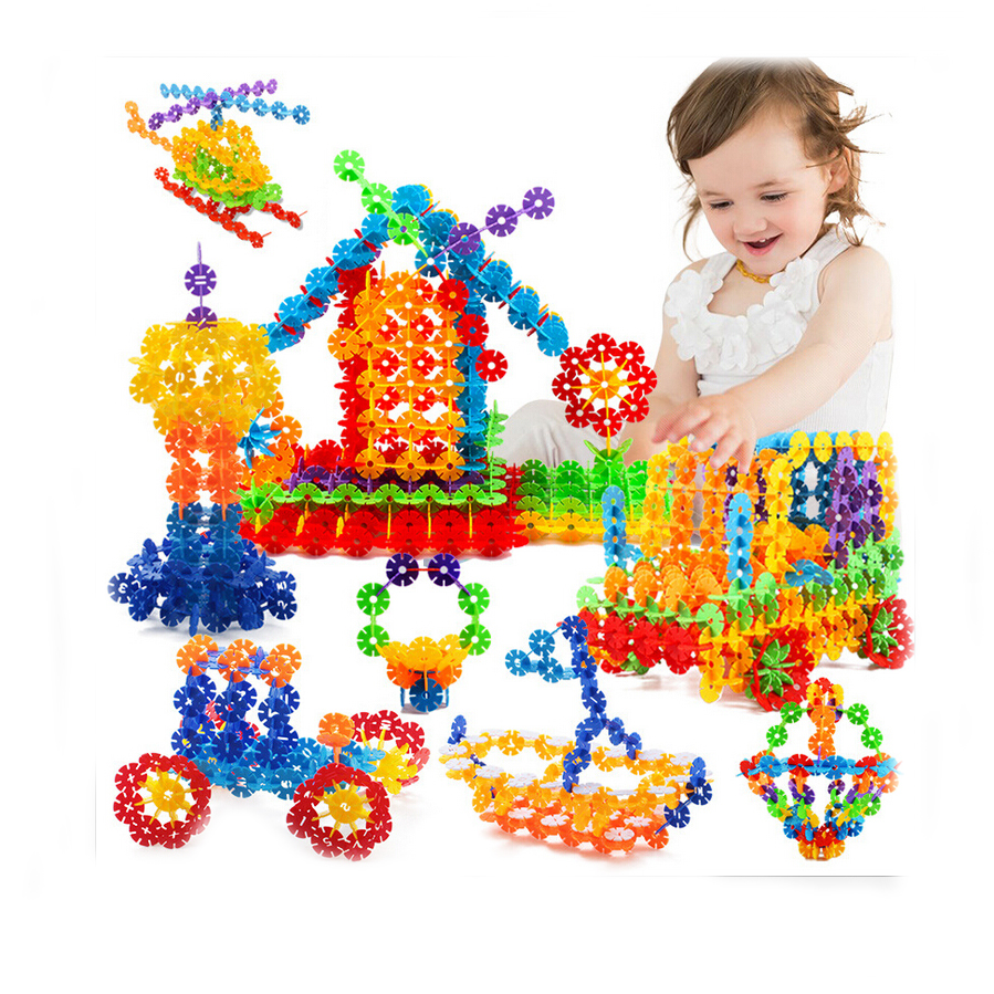 With Instructions 400 Pcs 3D Puzzle Jigsaw Plastic Snowflake Building Blocks Building Model Puzzle Educational Toys For Kids
