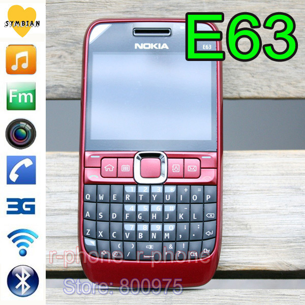 Image 2 - 100% Original NOKIA E63 Mobile Phone 3G Wifi Bluetooth QWERTY Keyboard Unlocked E63 RED & One year warranty-in Cellphones from Cellphones & Telecommunications