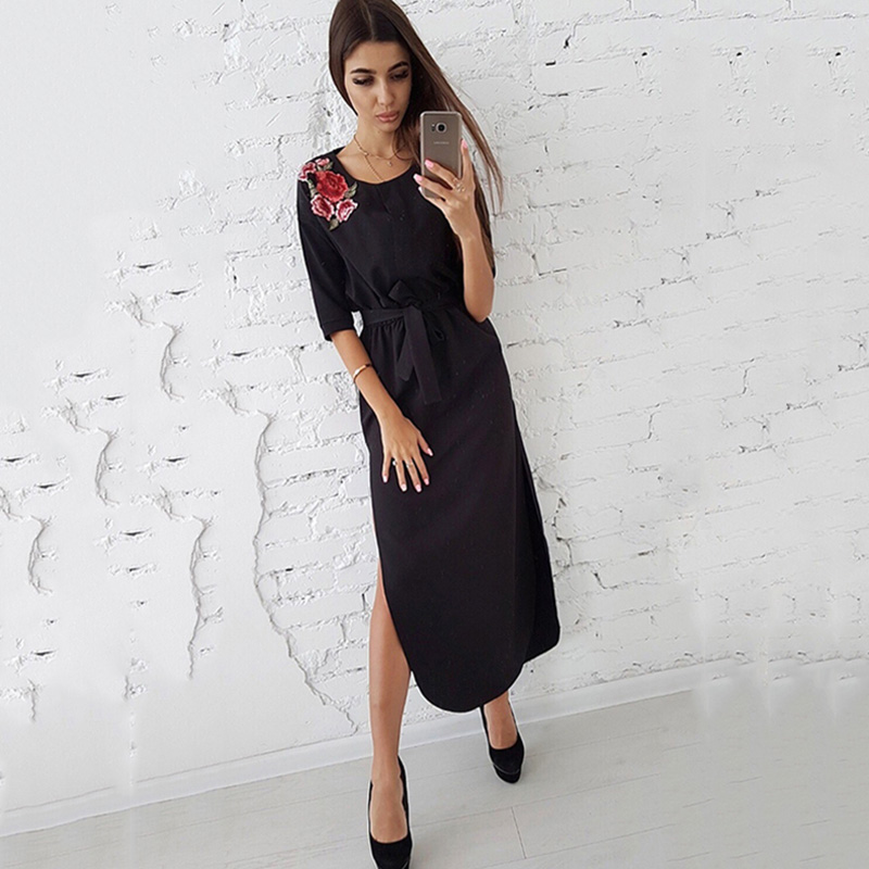 Hem Rose Appliques Dress Women Side Split Curved Half Sleeves Casual Long Dresses S Red 7