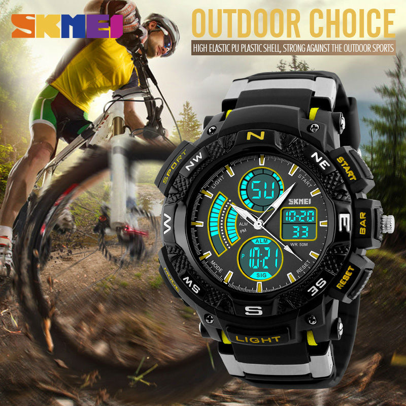 Outdoor Sports Watches Men Dual Time Zone Analog LED Digital Quartz Watch Fashion Student Multifunction Wristwatch 2019 New