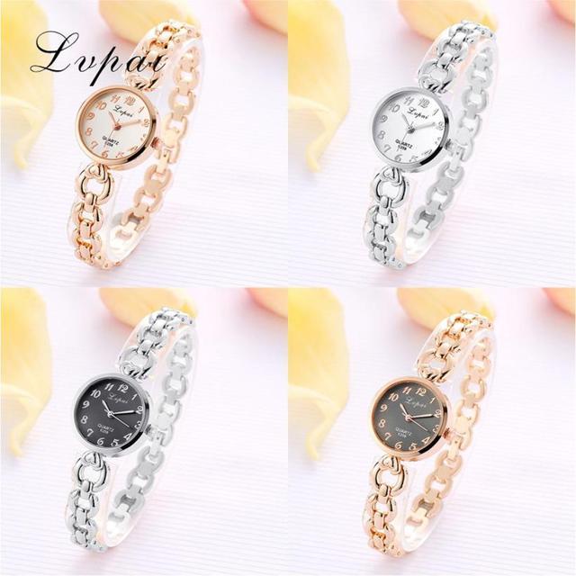 LVPAI 2018 Watch Women Gold Vintage Luxury Clock Women Bracelet Watch Ladies Brand Luxury Stainless Steel Women Clock Gifts B50 5