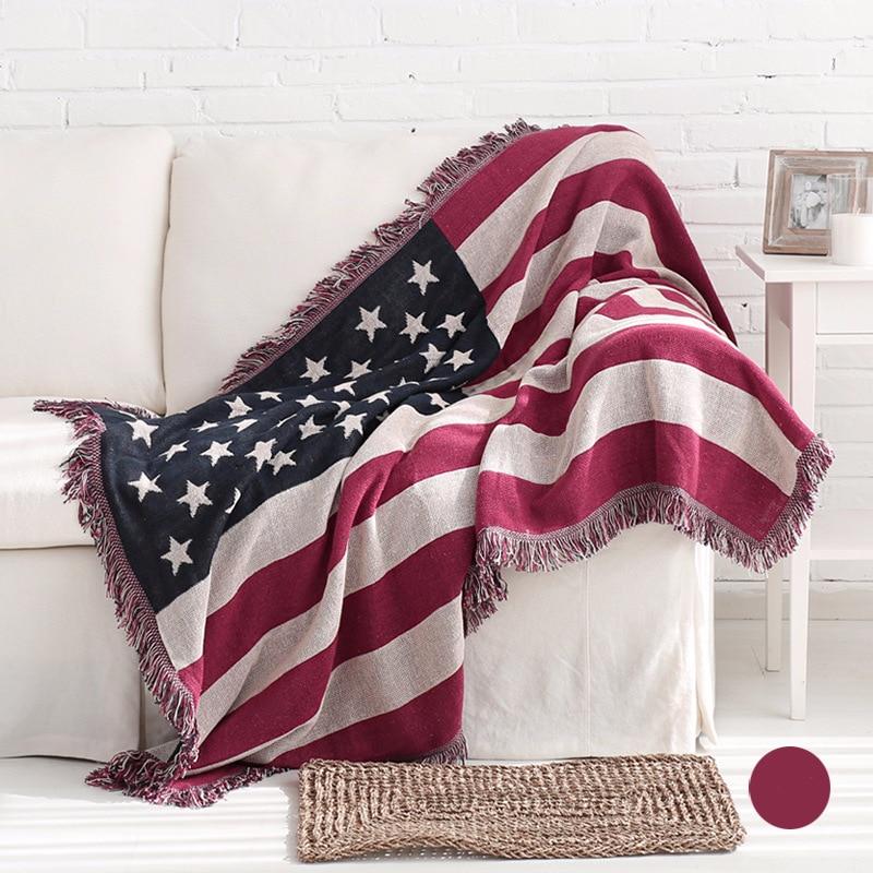 Deken Amerikaanse Vlag.Amerikaanse Vlag Katoenen Draad Deken Gebreide Sofa Handdoek
