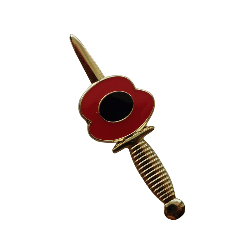 Custom making metal poppy lapel badges swo pins Iron plated gold color Paints epoxy butterfly button
