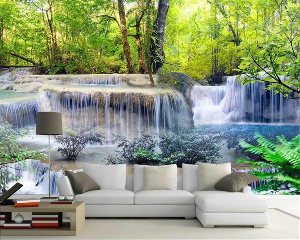 US $8 85 OFF Beibehang Kertas Dinding Dekorasi Rumah Berkualitas Tinggi Wallpaper 3D Pemandangan Air Mengalir Air Terjun Latar Belakang