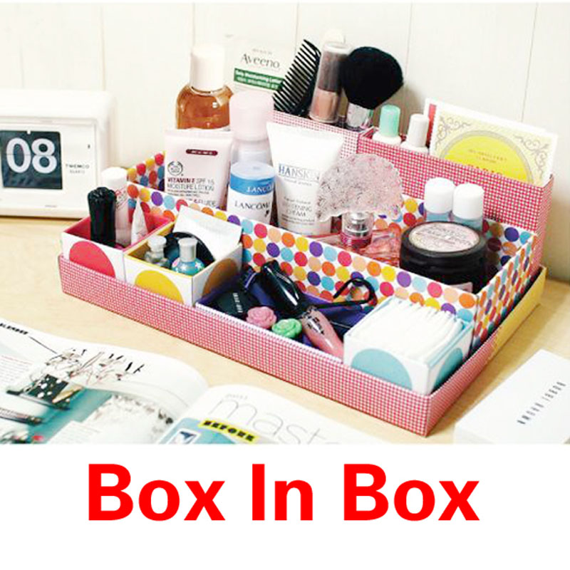 Desk Cosmetic Storage Box Container Bag Case Stuff Organizer Box In Box DIY