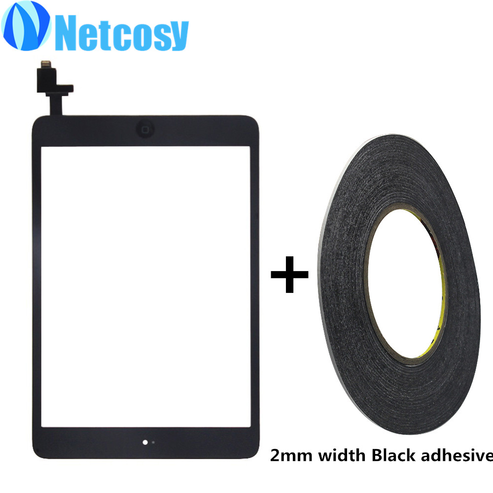 For ipad Mini 1 / 2 Touch Glass Screen Digitizer Home Button Assembly with IC conector for ipad mini & 2mm width adhesive tape high quality genuine leather square heels martin boots for women round toe platform winter rhinestone snow martin boots