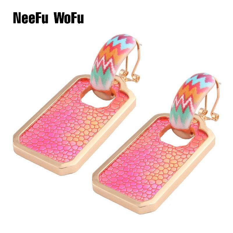 NeeFu WoFu Leather Earring Large Long Row Geometry Drop Big Earrings Dangle Woman stick Brinco Ear Oorbellen Christmas Gift