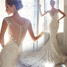 Sexy See Through Ladies V Neck Mermaid Lace Wedding Dress 2019 Sleeveless Bridal Gown Court Train Vintage Robe De Mariee