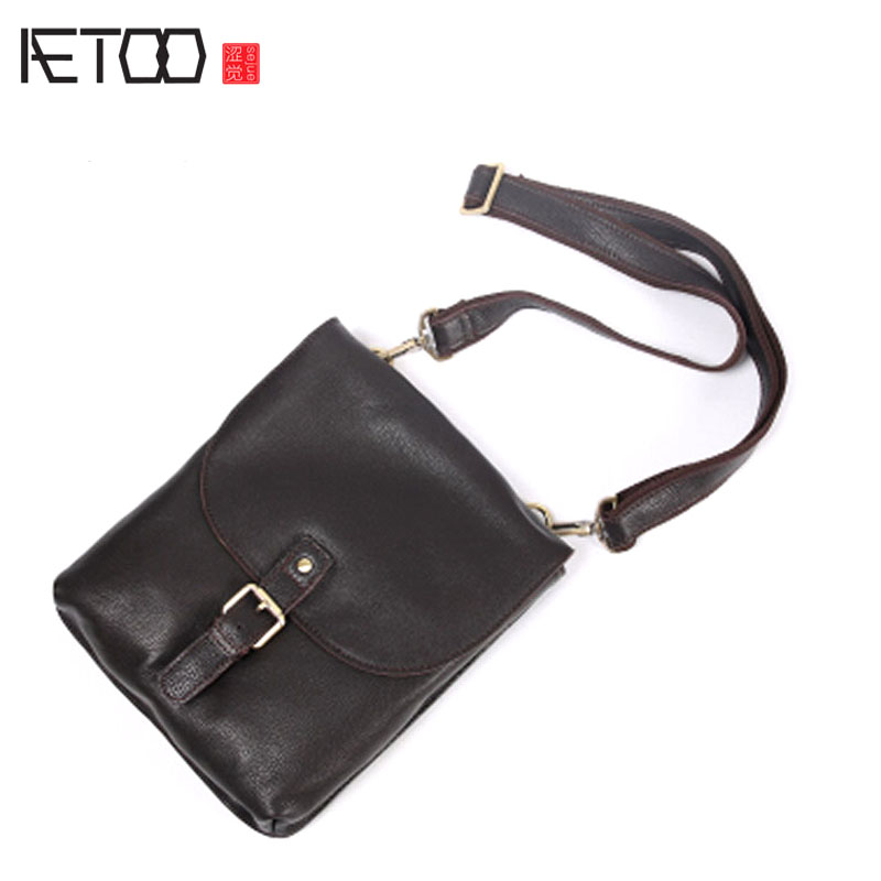 AETOO Handmade leather shoulder bag male bag leather business briefcase men cowhide vertical paragraph leisure Messenger bag sof aetoo 2017 new 100% cow leather shoulder bag retro vertical paragraph square bag new leather leisure travel messenger bag women
