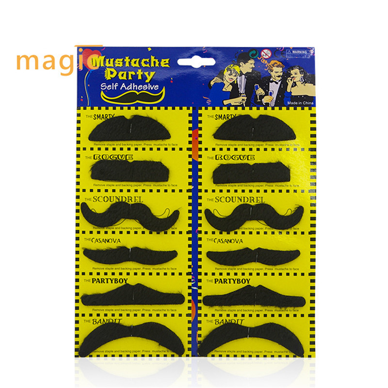 12Pcs/lot Creative Funny toy Costume Party black Mustache Cosplay Halloween Moustache Fake Beard For Kids Adult Decor