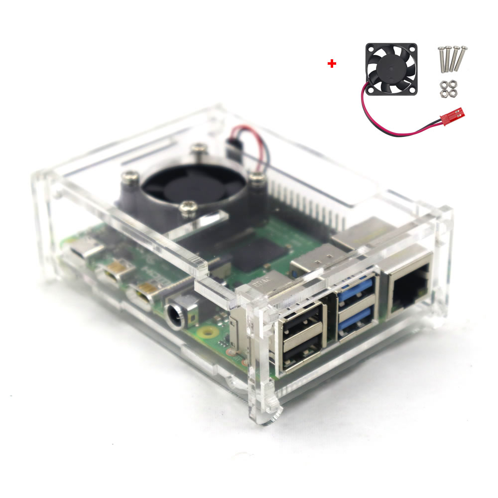 Raspberry Pi 4 Model B Clear Acrylic Case Enclosure Box With Cooling Fan