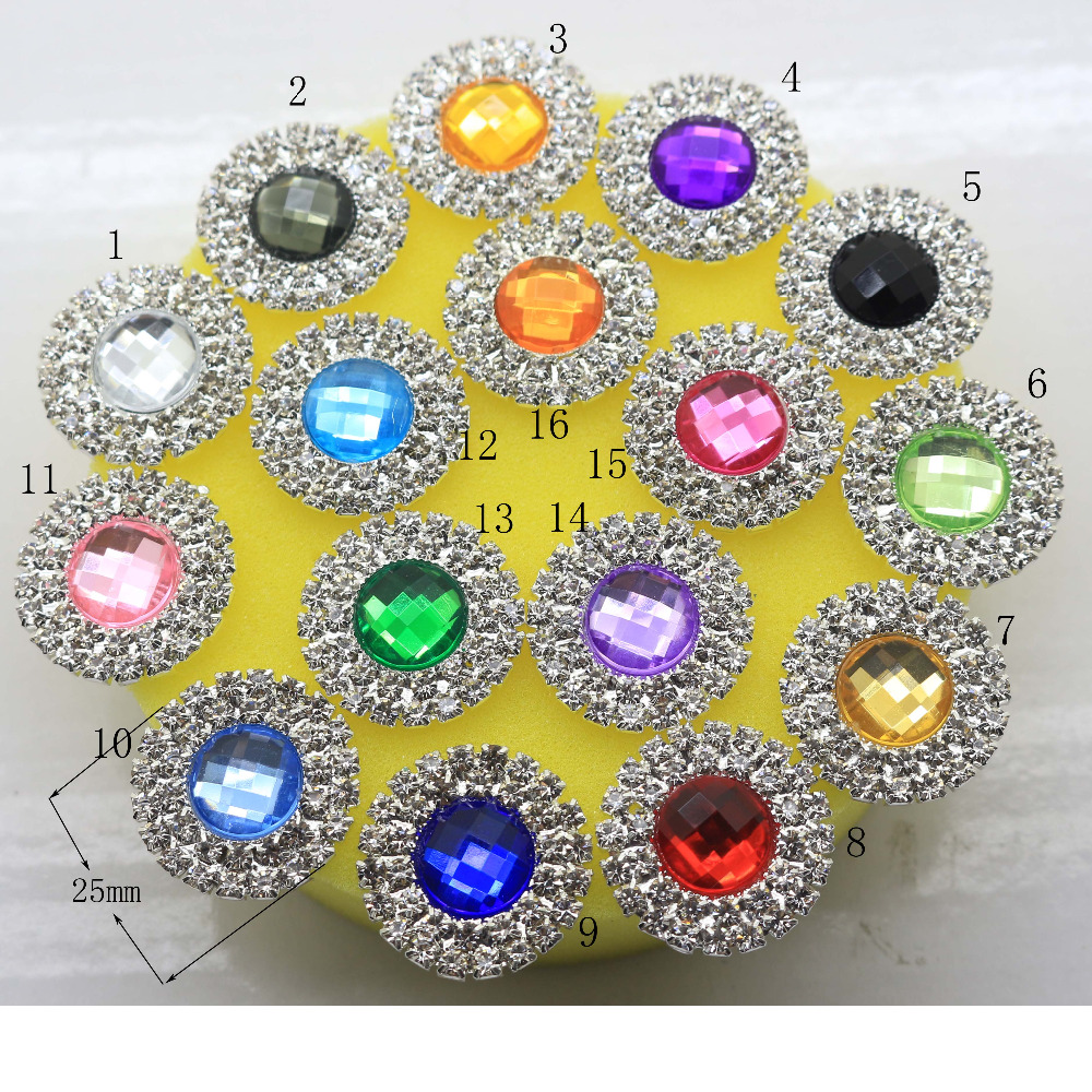 5pcs Double row Round Circle Silver Plated Rhinestone buttons Wedding Decoration Invitation Girl Hair accessories,DIY accessor