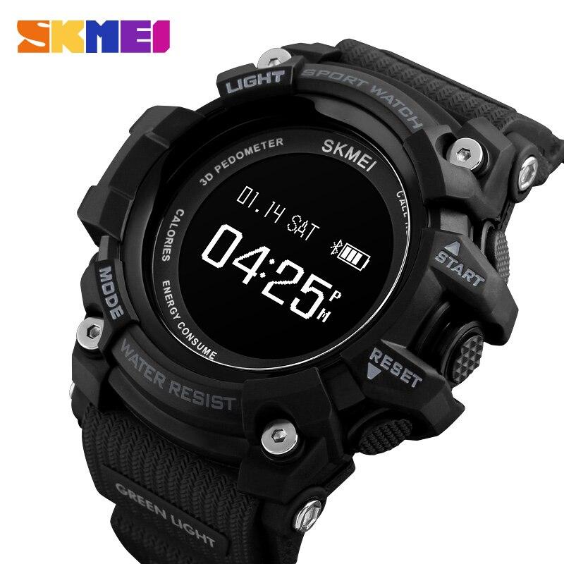 SKMEI montre connectée Hommes Fréquence Cardiaque Sport Bluetooth 3Bar montres étanches Podomètre Calories montre digitale montre pour homme 1188