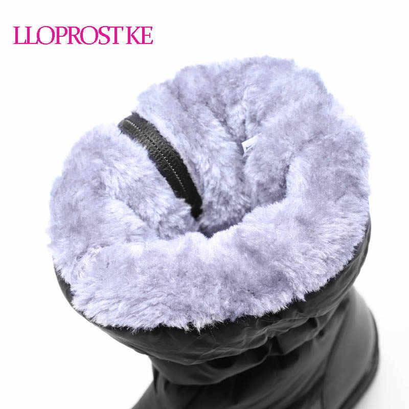 LLOPROST KE Frauen Stiefel Winter Warme Mittelkurz Stiefel Für Frauen Plateauschuhe Einfache Schnee Plüsch Unten Stoff Bota Feminina GL061