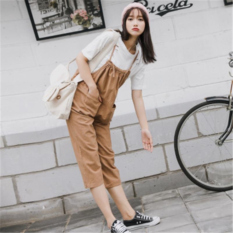 где купить 2017 Summer New Rompers Solid Linen Harajuku Vintage Drawstring Casual Loose Women High Waist Ankle-Length Overalls Pants по лучшей цене