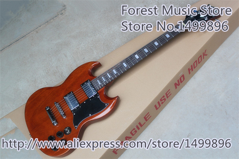 Hot Selling Glossy Brown Finish SG Electric Guitars As Picture Left Handed Custom Available top selling chinese sg 400 electric guitar zebra stripe finish guitars body