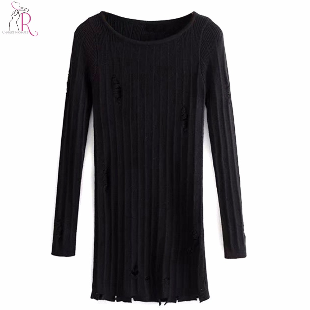 4d5e4250c3 2018 2015122202 Women Ripped Knitted Sweaters And. 2018 2015122202 Women.  Black And White Off Shoulder Ripped Long Sleeve MS04