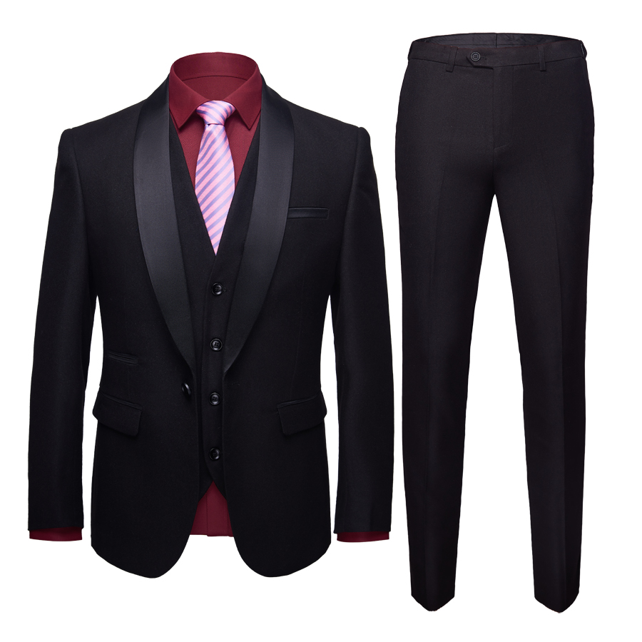 Black Formal Suits Men Suit Three piece Sets Business Banquet Wedding Groom Mens Dress Suit Tuxedo Size S M XL 2XL 3XL 4XL