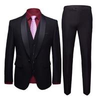 Black Formal Suits Men Suit Three piece Sets Business Banquet Wedding Groom Mens Dress Suit Tuxedo Size S M XL 2XL 3XL 4XL