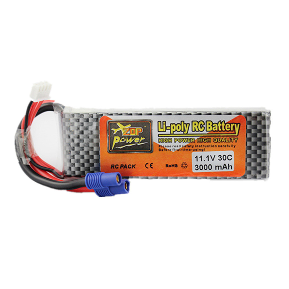 Lipo Battery 11.1V 3000 mAh 3S 30C EC3 XT60 Plug Zop Power Polymer Lithium for Blade 350QX/450 RC Helicoper Drone Bateries(China)