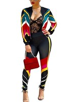 Women Casual Two Piece Sets Zipper V Neck Striped Jacket Tracksuit Pencil Leggings Pants Set Streetwear
