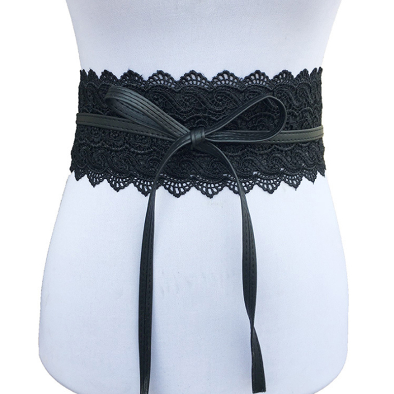 2019 New Black White Wide Corset Hollow Flower Belt Female Self Tie Waistband Belts For Women Wedding Dress Waist Band