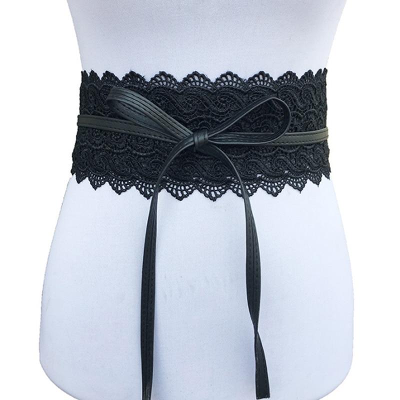 2019 New Black White Wide Corset Hollow Flower Belt Female Self Tie Waistband Belts For Women Wedding Dress Waist Band