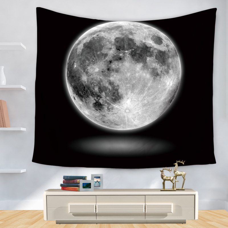 Fantasy Universe Space Tapestry Black White Moon Star Printed Wall Hanging Carpet Home Decor Living Room Bedroom Wall Tapestries
