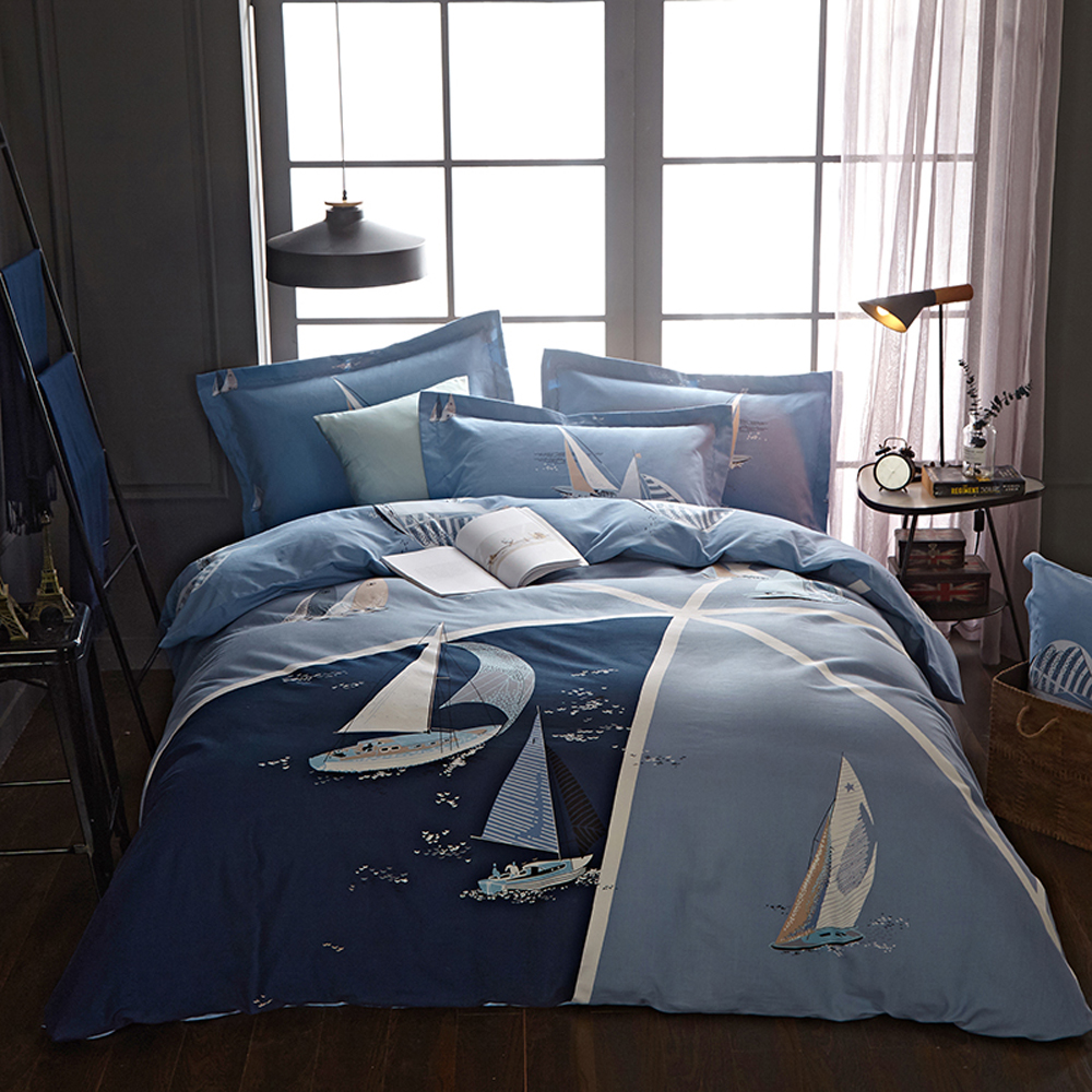Papa&Mima sailboat print sanding cotton bedding set Queen King size flat sheet pillowcases duvet cover sets bedlinensPapa&Mima sailboat print sanding cotton bedding set Queen King size flat sheet pillowcases duvet cover sets bedlinens