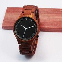 Роскошный Красный Sandlwood Наручные Часы Для Мужчин С Высоким Качеством Janpen Движение Кварцевые Часы Для Рождественских Подарков