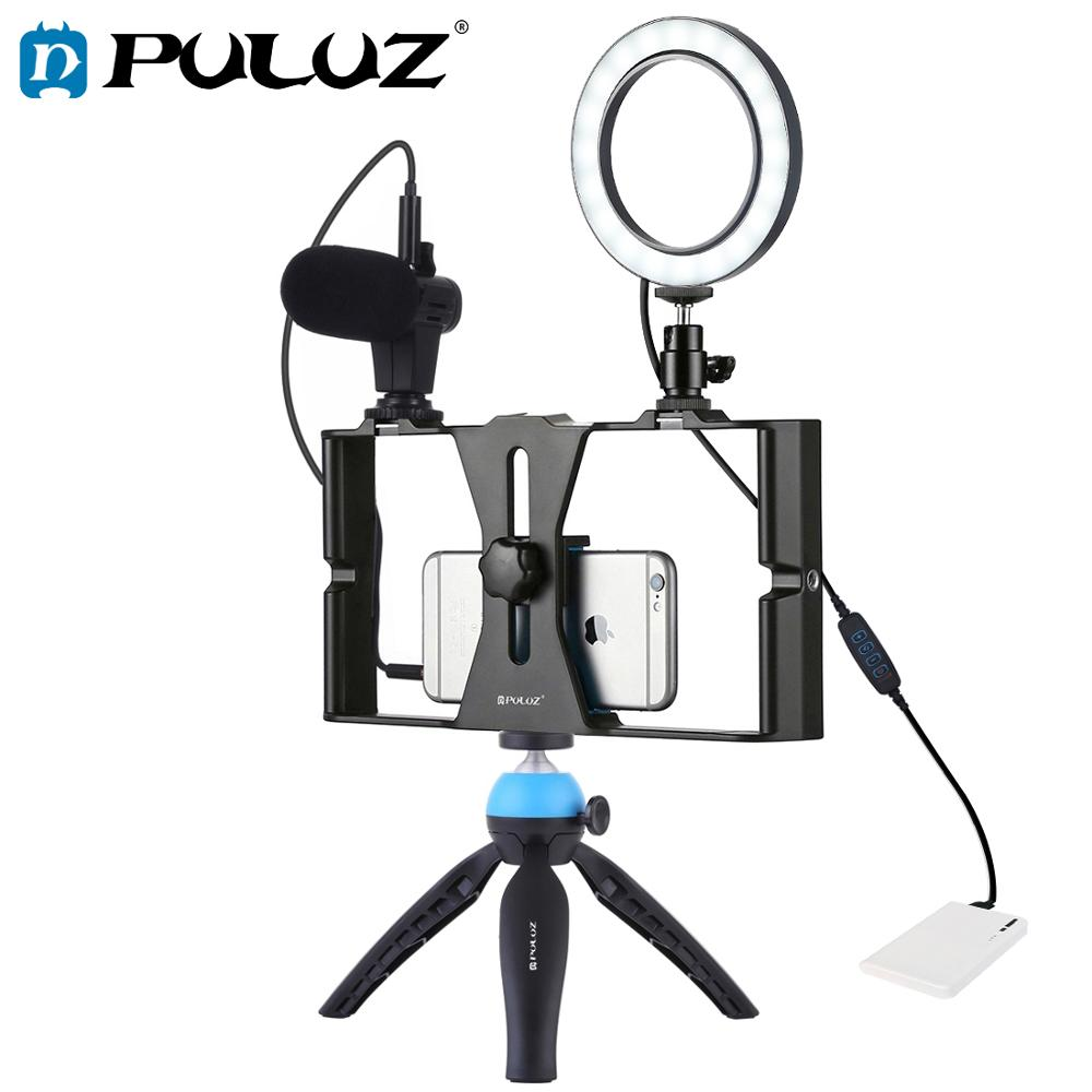 PULUZ 4 in 1 Vlogging Live Broadcast Smartphone Video Rig 4 6 inch Ring LED Video