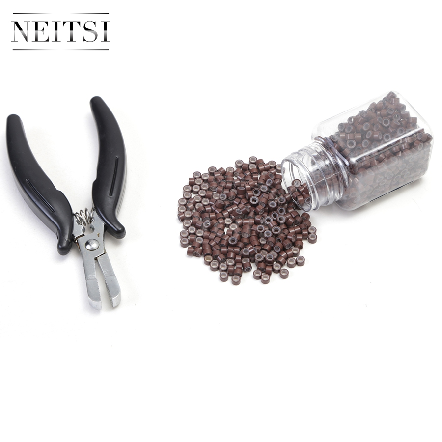 Neitsi Linesman Pliers and 500 Beads Silicone Micro Rings For Hair Extensions in Links Rings Tubes from Hair Extensions Wigs