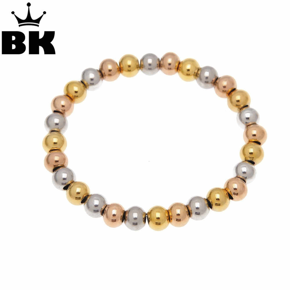 Gold Color Filled Stainless Steel Ball Beads Bracelets Women Men Love Jewelry Customize 8mm Beaded Strand Bracelets