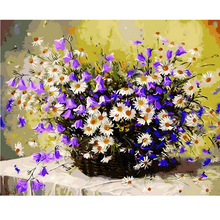 1PC Daisy Flowers DIY Oil Painting By Numbers Wall Pictures For Living Room Coloring By Numbers Canvas Art Home Decor 40x50cm