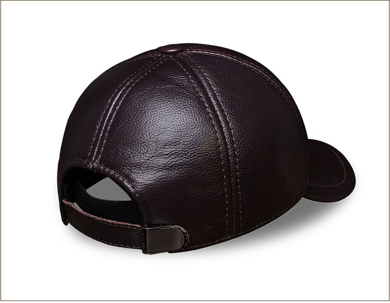 Genuine Leather Embossed Mens Baseball Cap - Brown Rear Right Side Angle View