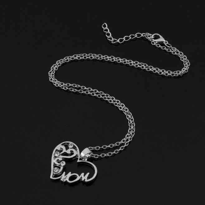 """De alta Qualidade Da Moda mãe e filho do amor """"mãe"""" cristal colar de pingente de presentes do Dia das Mães camisola cadeia colar para a mãe"""