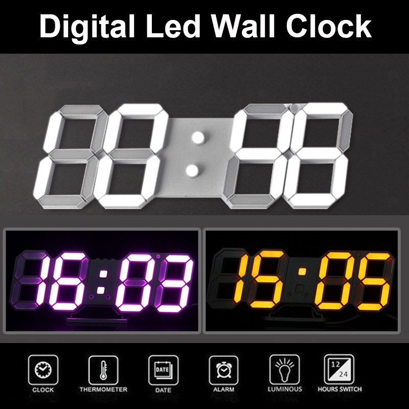 3d Modern Digital Wall Clocks Home Decor Led Alarm Clock Night Light
