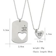 "2 PCS Fashion Couple Necklace Set Lettering ""I Carry Your Heart With Me"" Love Heart Hollow Charms Choker Necklace For Men Women"