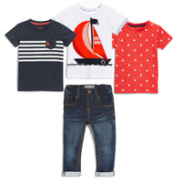 New 100 Cotton Summer O Neck Short Sleeve T Shirt Denim Pants 4 Pcs Sets Kids