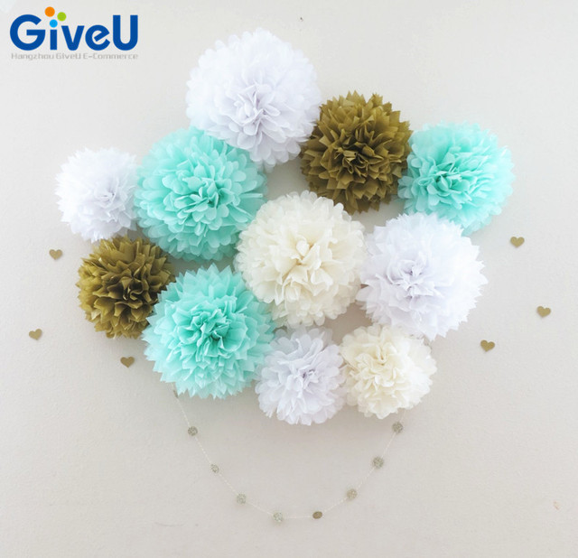 Gvieu hot 7pcslot 10inch mint green blue white tissue paper pom gvieu hot 7pcslot 10inch mint green blue white tissue paper pom poms mint pompom solutioingenieria Image collections