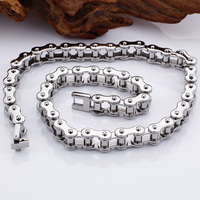 Fashion Men's Bike EngineChain Bracelet Silver Stainless Steel Link Bicycle Bike Chain Necklace Jewelry 55cm For Men Gift